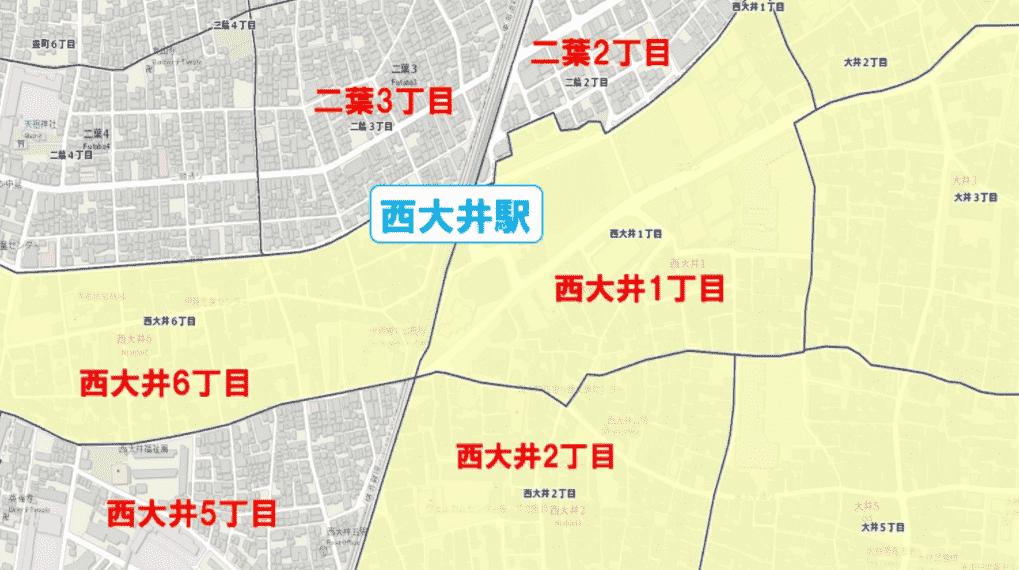 西大井駅周辺の粗暴犯の犯罪件数マップ
