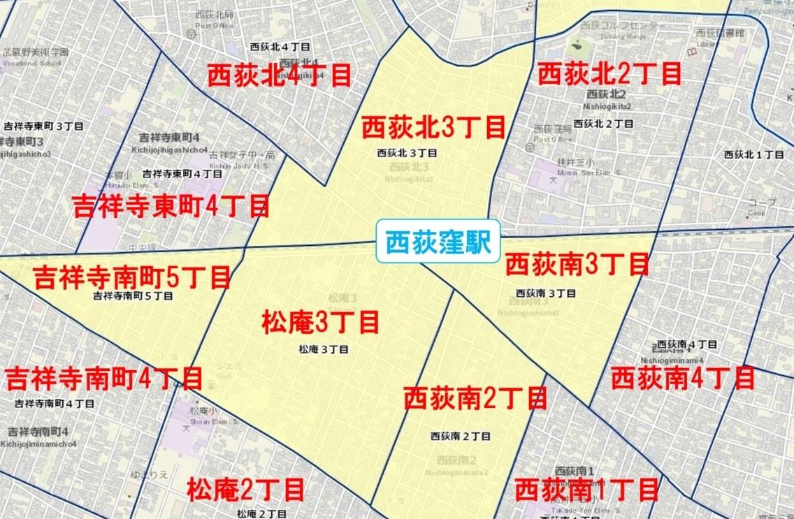 西荻窪駅周辺の粗暴犯の犯罪件数マップ