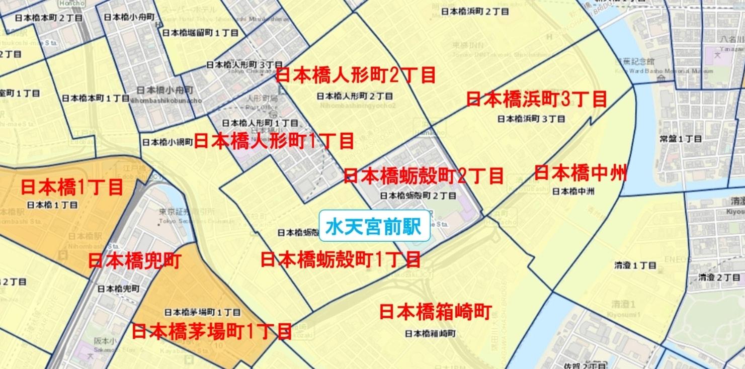 水天宮前駅周辺の粗暴犯の犯罪件数マップ
