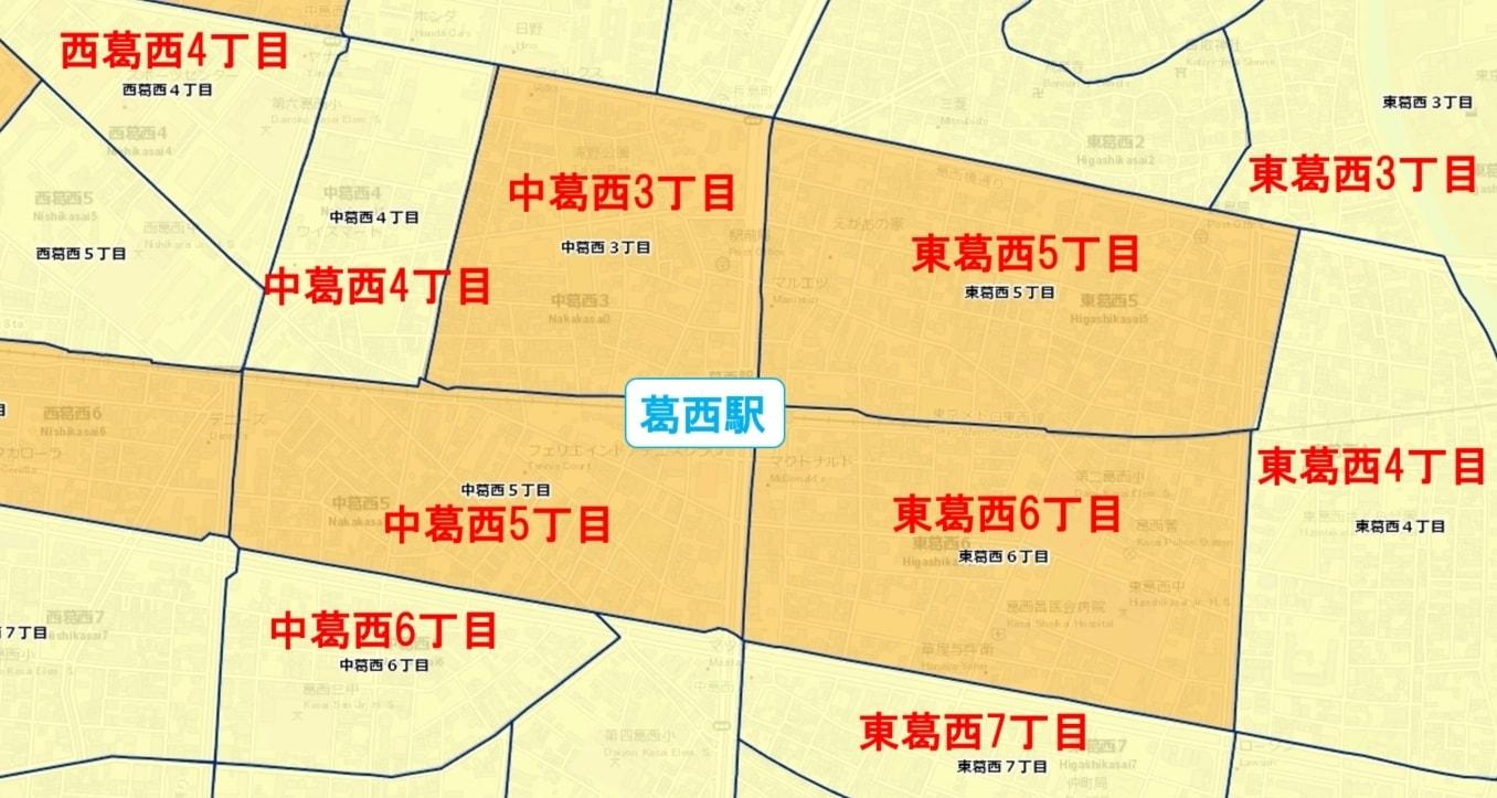 葛西駅周辺の粗暴犯の犯罪件数マップ
