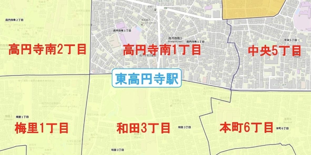 東高円寺駅周辺の粗暴犯の犯罪件数マップ