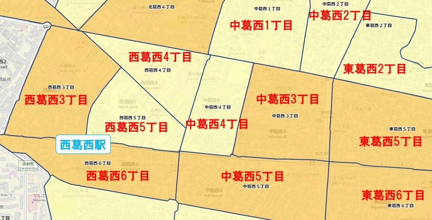 西葛西駅周辺の粗暴犯の犯罪件数マップ