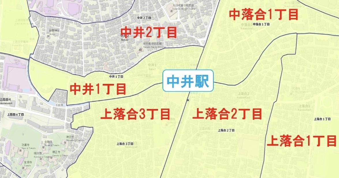 中井駅周辺の粗暴犯の犯罪件数マップ