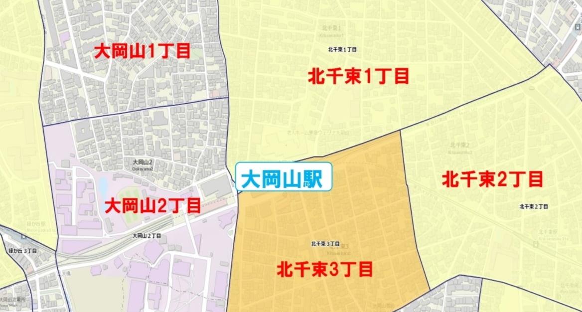 大岡山駅周辺の粗暴犯の犯罪件数マップ