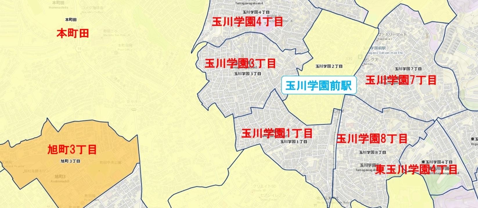 玉川学園前駅周辺の粗暴犯の犯罪件数マップ