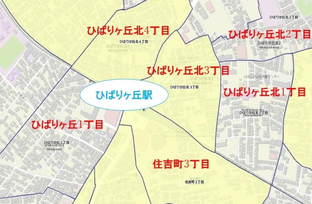 ひばりヶ丘駅周辺の粗暴犯の犯罪件数マップ