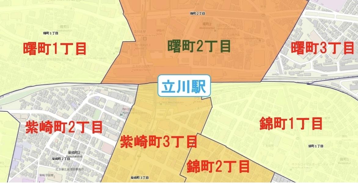 立川駅周辺の粗暴犯の犯罪件数マップ