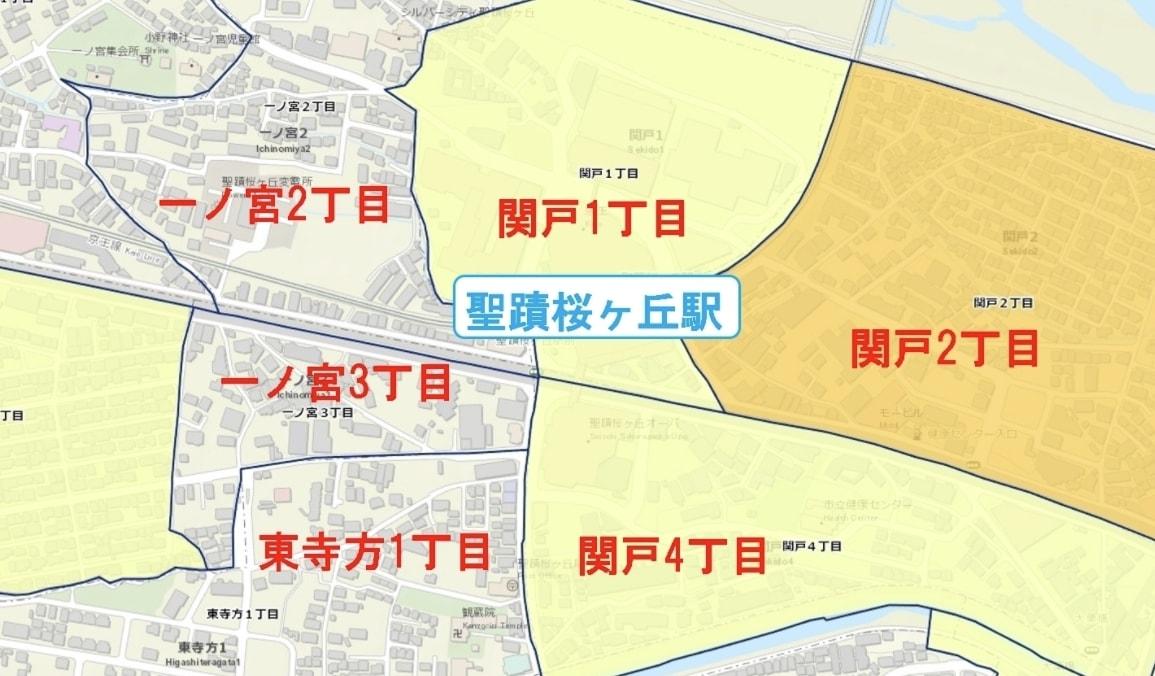 聖蹟桜ヶ丘駅周辺の粗暴犯の犯罪件数マップ
