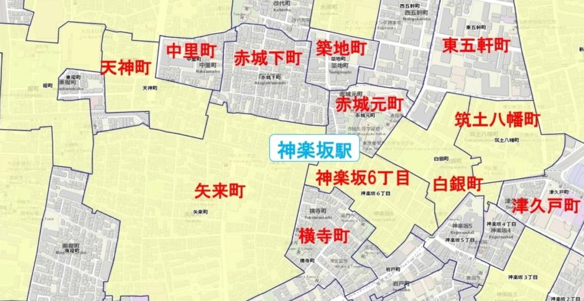 神楽坂駅周辺の粗暴犯の犯罪件数マップ