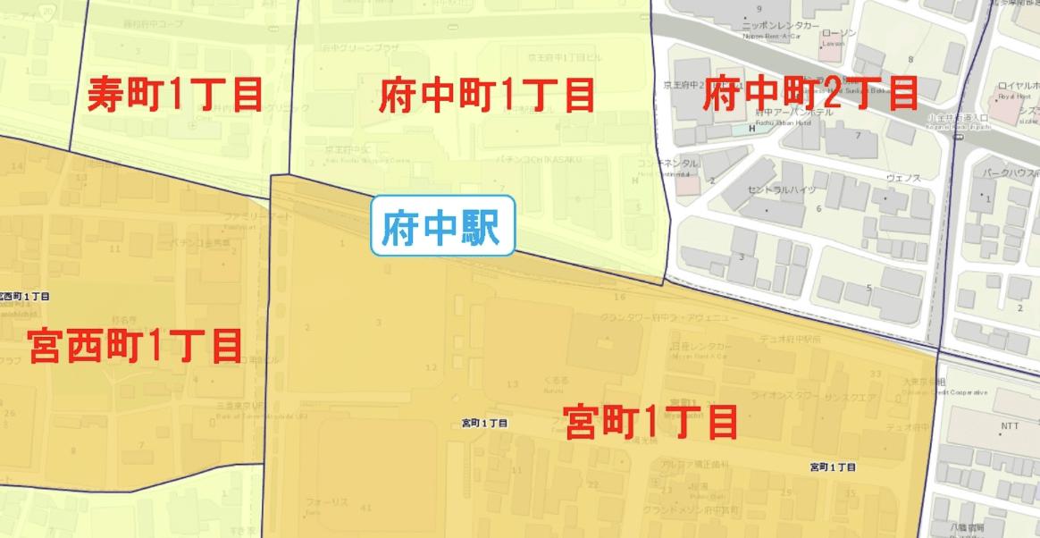 府中駅周辺の粗暴犯の犯罪件数マップ