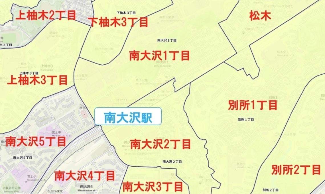 南大沢駅周辺の粗暴犯の犯罪件数マップ