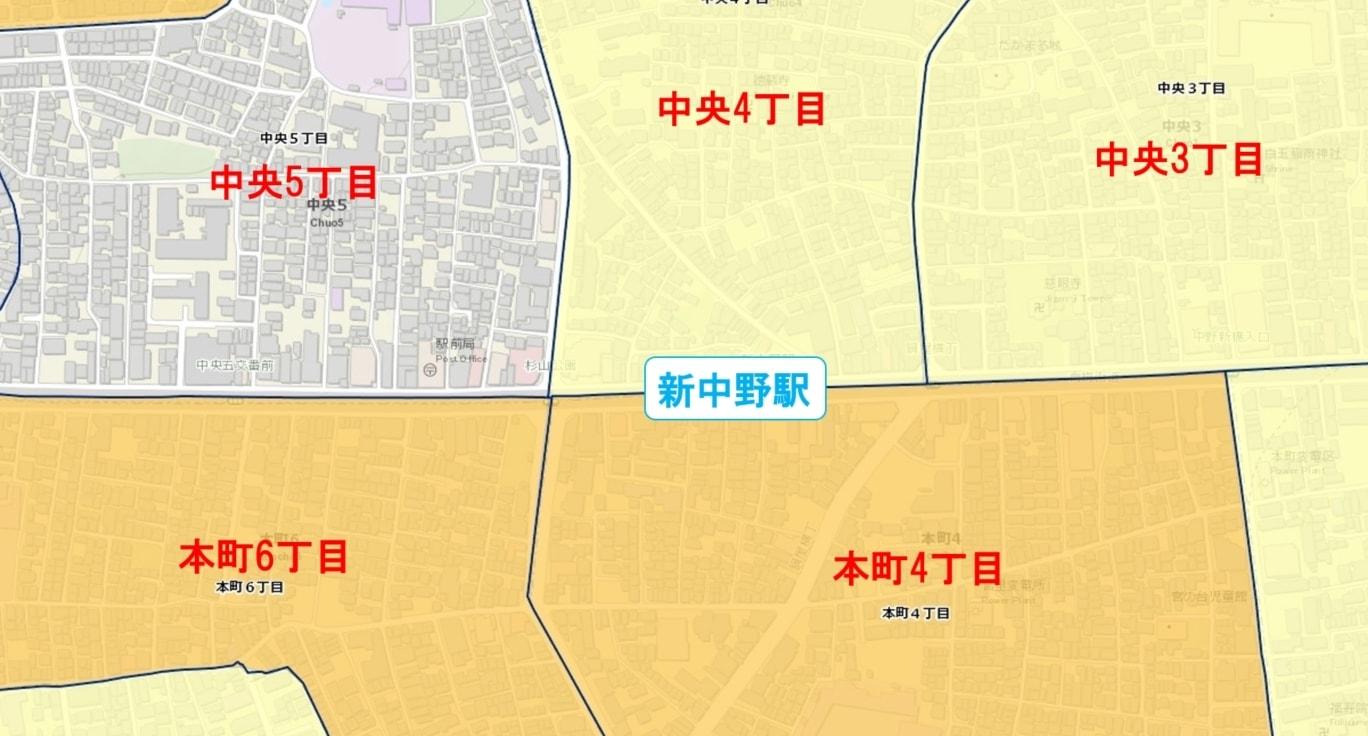 新中野駅周辺の粗暴犯の犯罪件数マップ