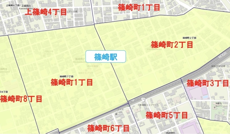 篠崎駅周辺の粗暴犯の犯罪件数マップ
