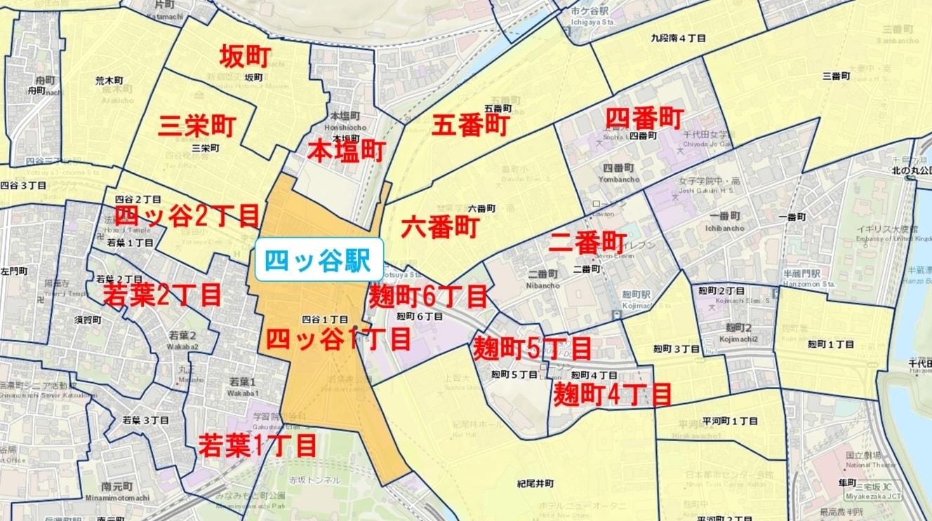 四ッ谷駅周辺の粗暴犯の犯罪件数マップ