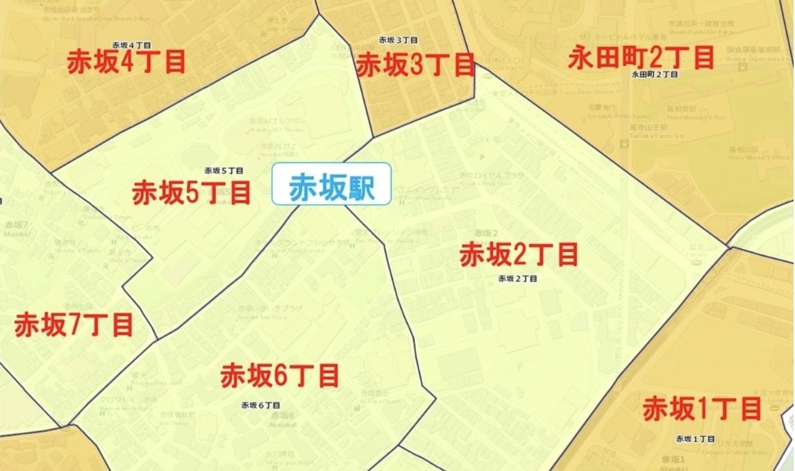 赤坂駅周辺の粗暴犯の犯罪件数マップ