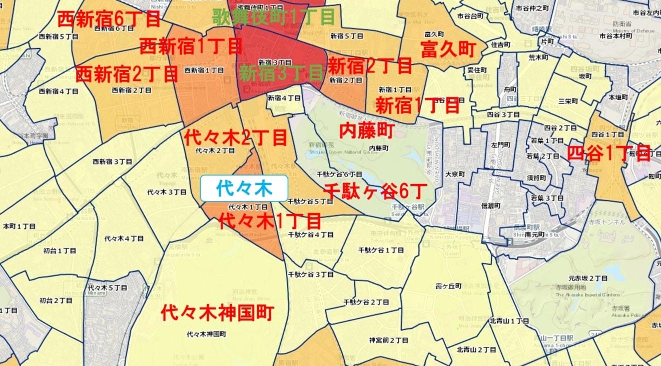 代々木駅周辺の粗暴犯の犯罪件数マップ