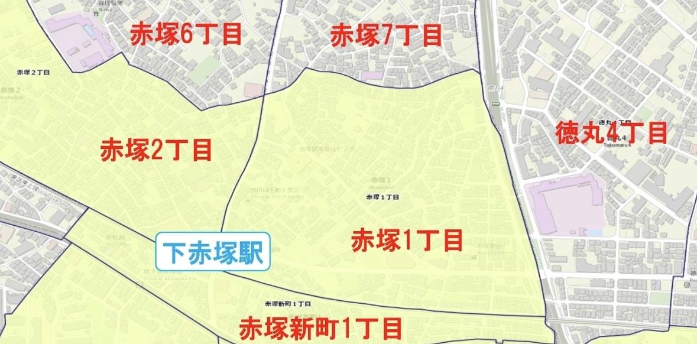 下赤塚駅周辺の粗暴犯の犯罪件数マップ