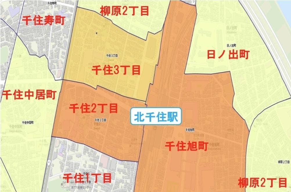 北千住駅周辺の粗暴犯の犯罪件数マップ