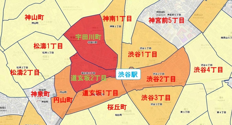 渋谷駅周辺の粗暴犯の犯罪件数マップ