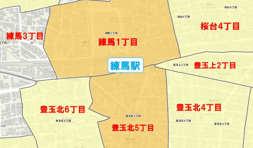 練馬駅周辺の粗暴犯の犯罪件数マップ