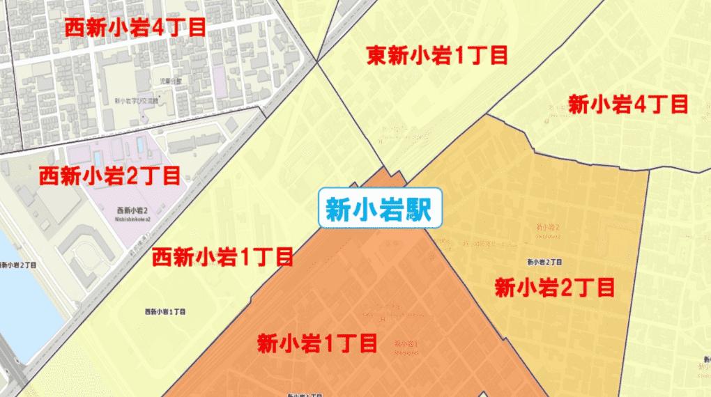 新小岩駅周辺の粗暴犯の犯罪件数マップ