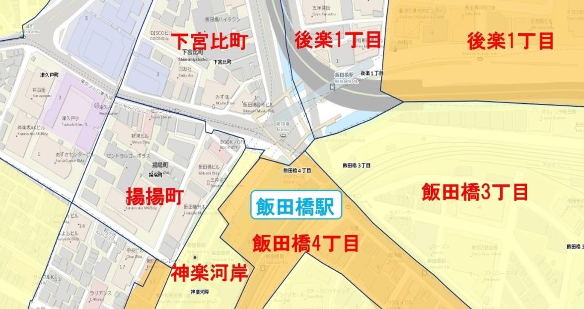 飯田橋駅周辺の粗暴犯の犯罪件数マップ