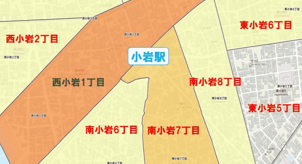 小岩駅周辺の粗暴犯の犯罪件数マップ