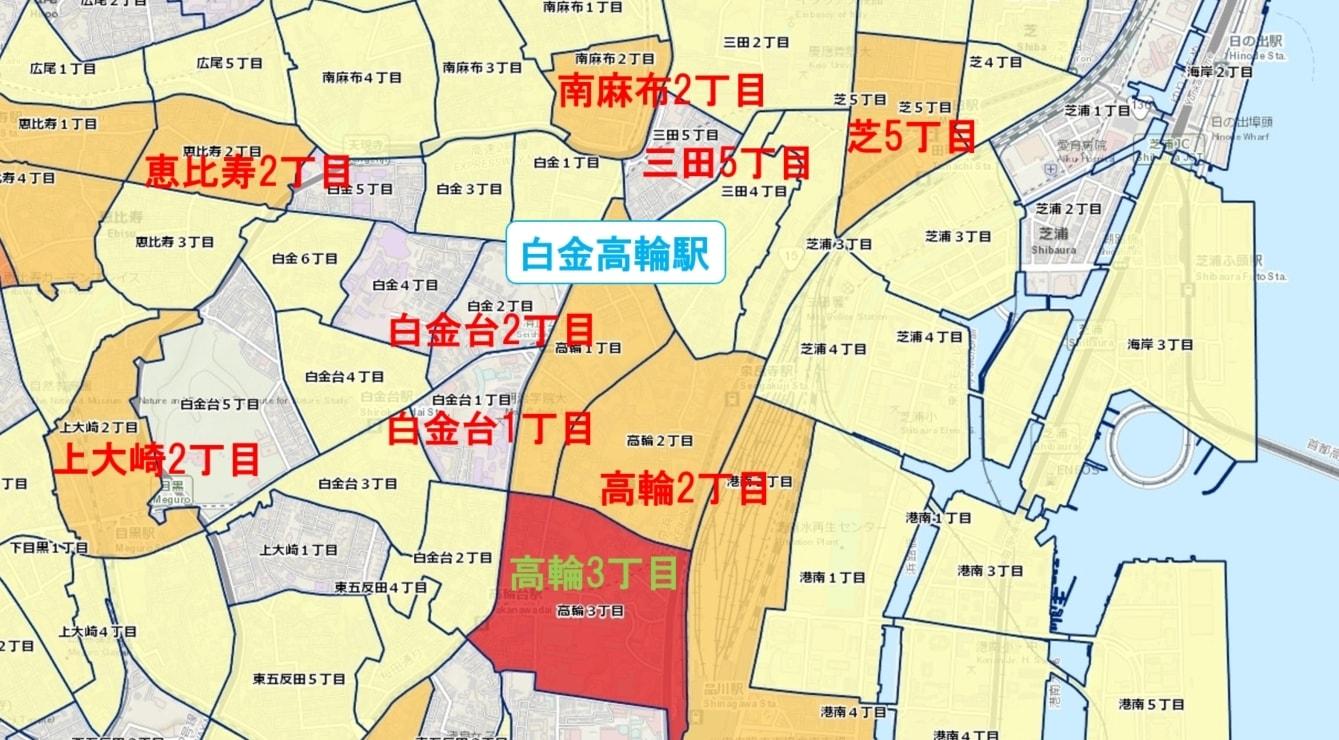 白金高輪駅周辺の粗暴犯の犯罪件数マップ