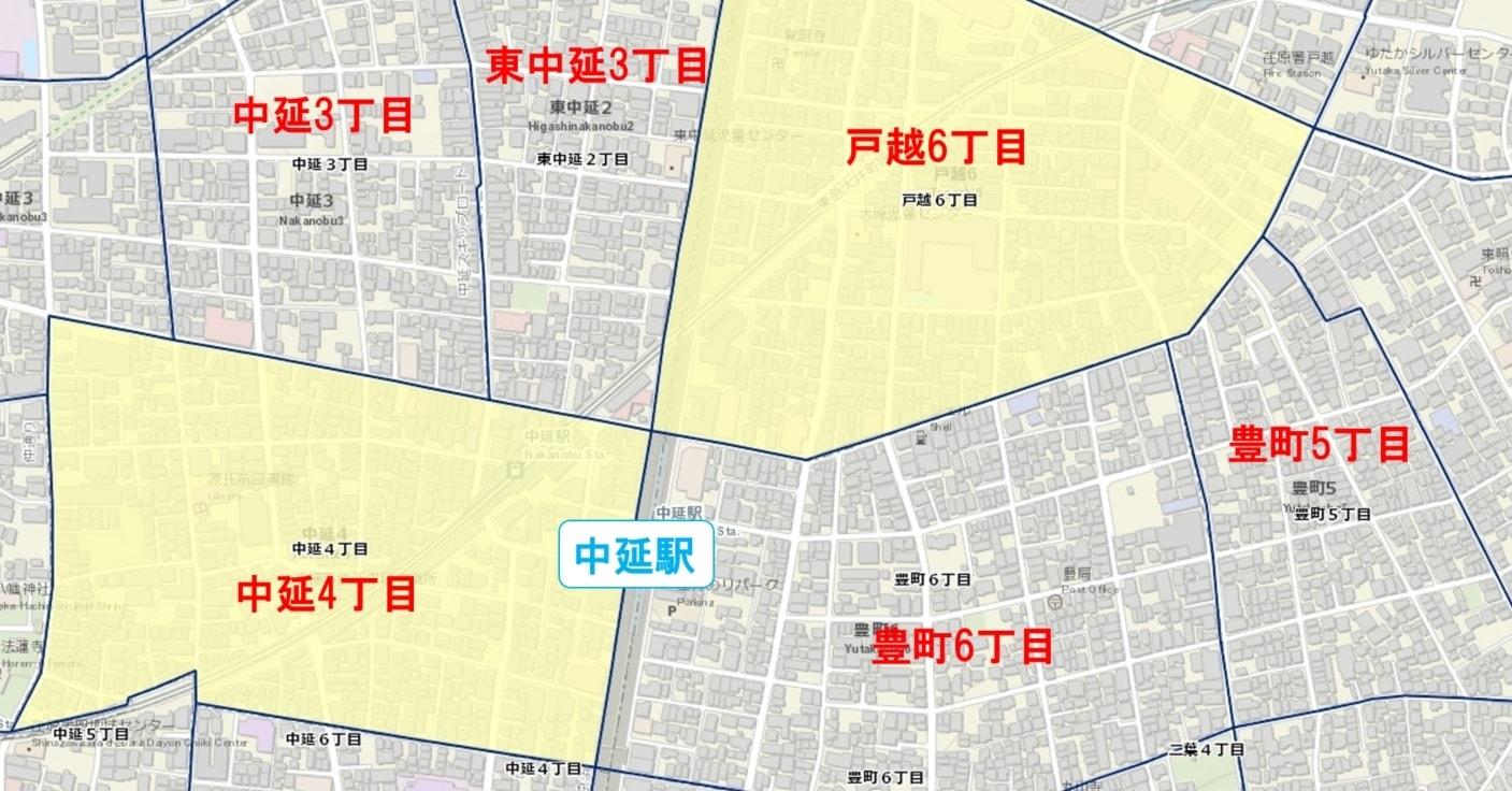 中延駅周辺の粗暴犯の犯罪件数マップ