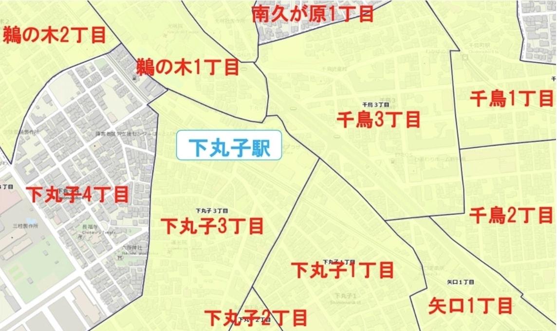 下丸子駅周辺の粗暴犯の犯罪件数マップ