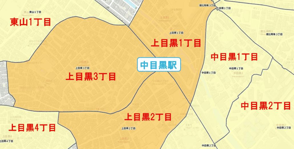 中目黒駅周辺の粗暴犯の犯罪件数マップ