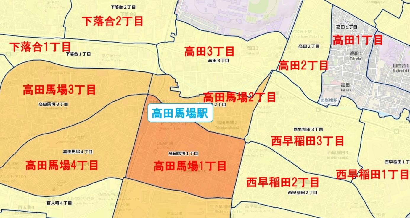 高田馬場駅周辺の粗暴犯の犯罪件数マップ