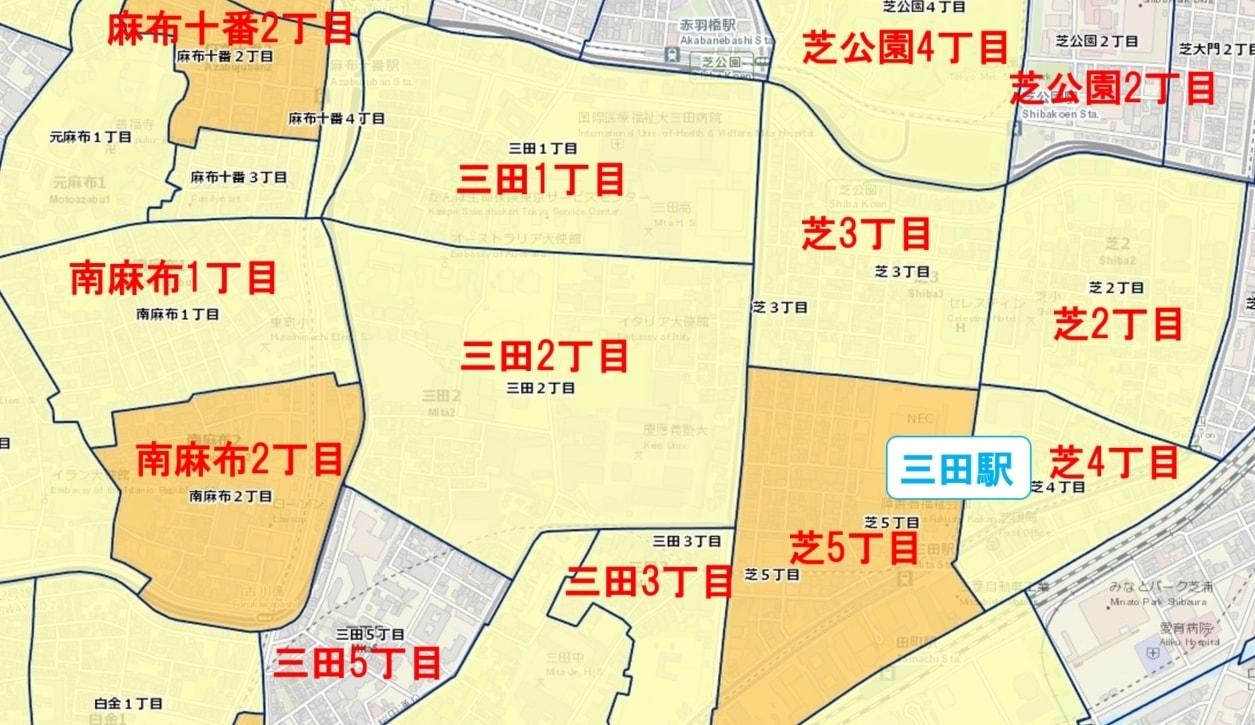 三田駅周辺の粗暴犯の犯罪件数マップ