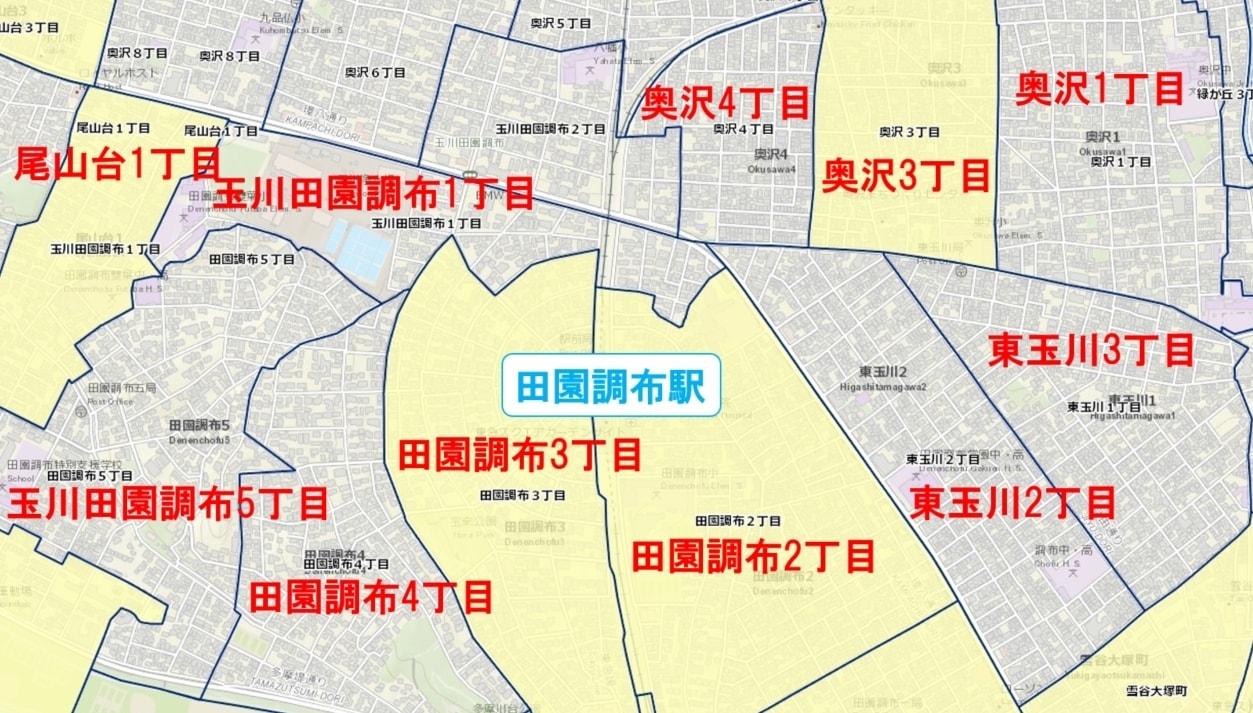 田園調布駅周辺の粗暴犯の犯罪件数マップ