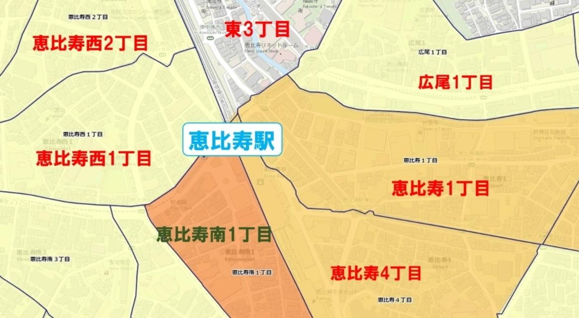 恵比寿駅周辺の粗暴犯の犯罪件数マップ