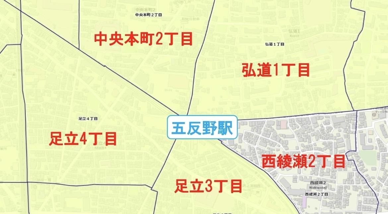 五反野駅周辺の粗暴犯の犯罪件数マップ