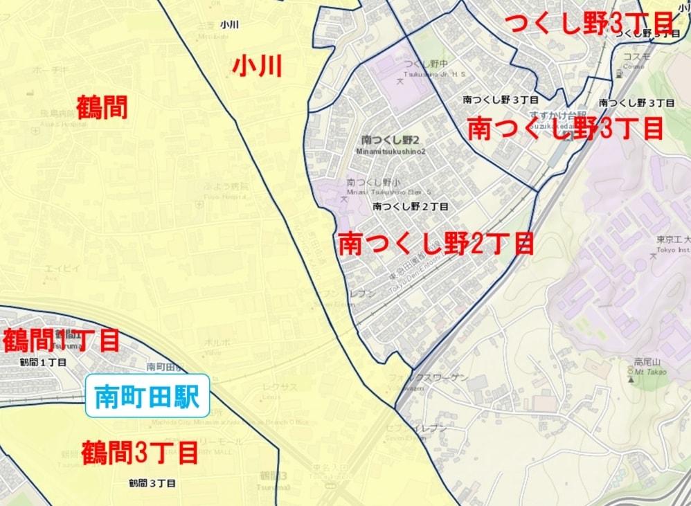 南町田グランベリーパーク駅周辺の粗暴犯の犯罪件数マップ