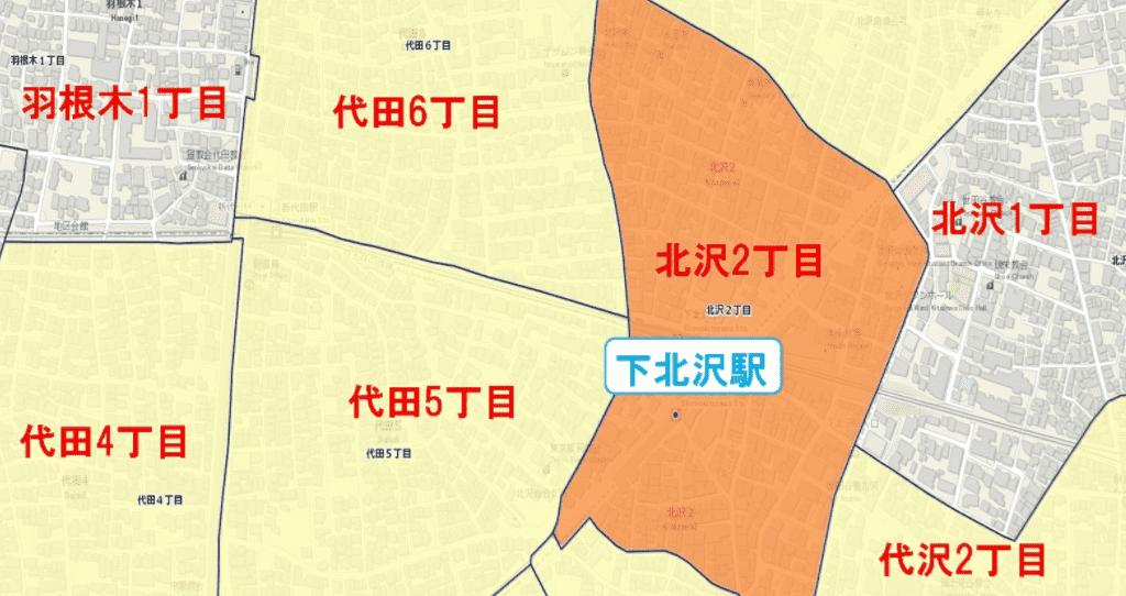 下北沢駅周辺の粗暴犯の犯罪件数マップ