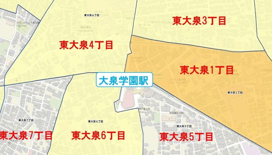 東大泉駅周辺の粗暴犯の犯罪件数マップ