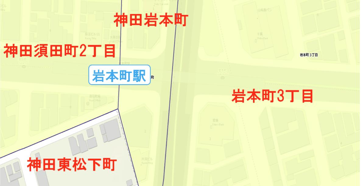 岩本町駅周辺の粗暴犯の犯罪件数マップ