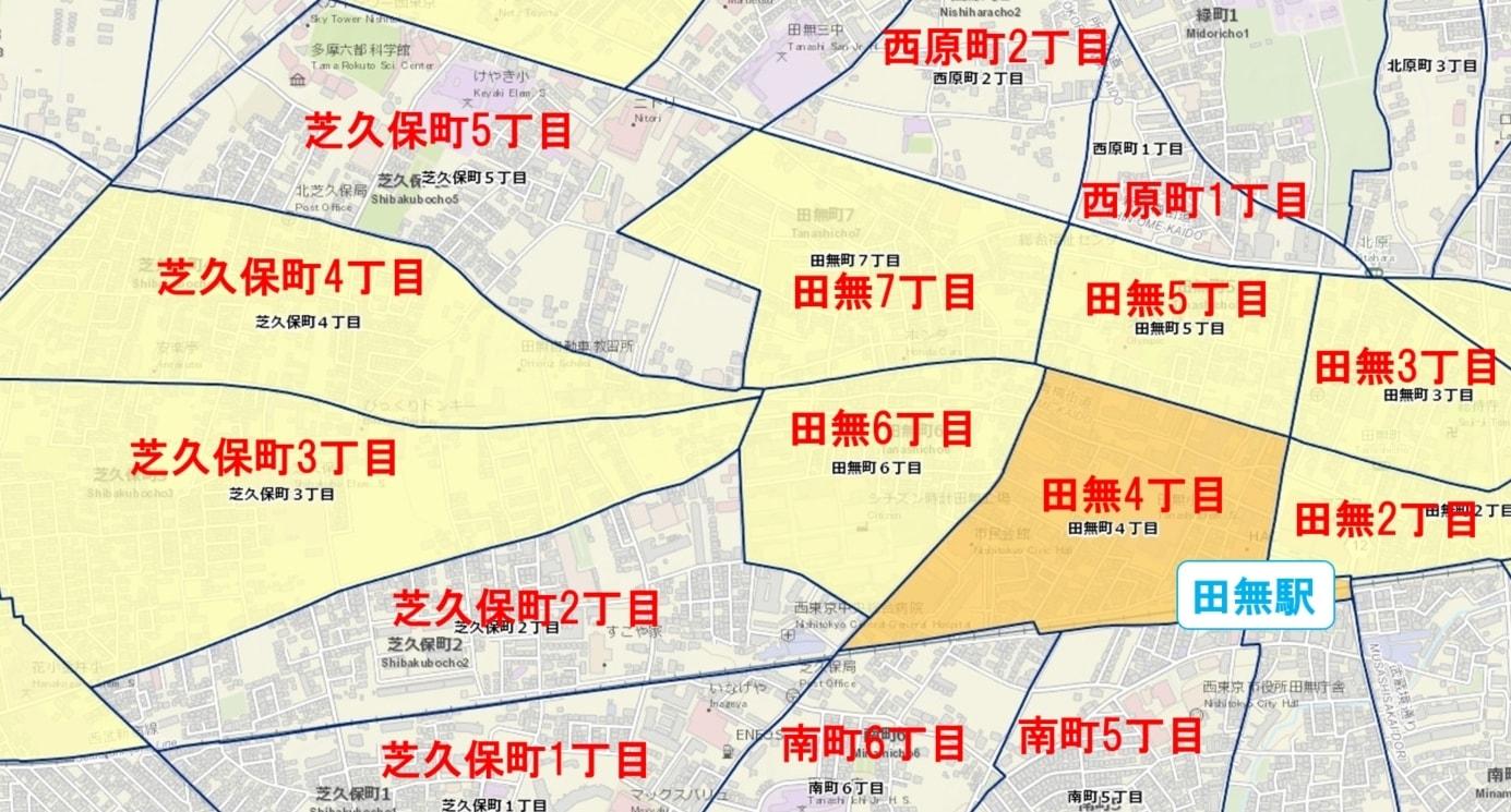田無駅周辺の粗暴犯の犯罪件数マップ