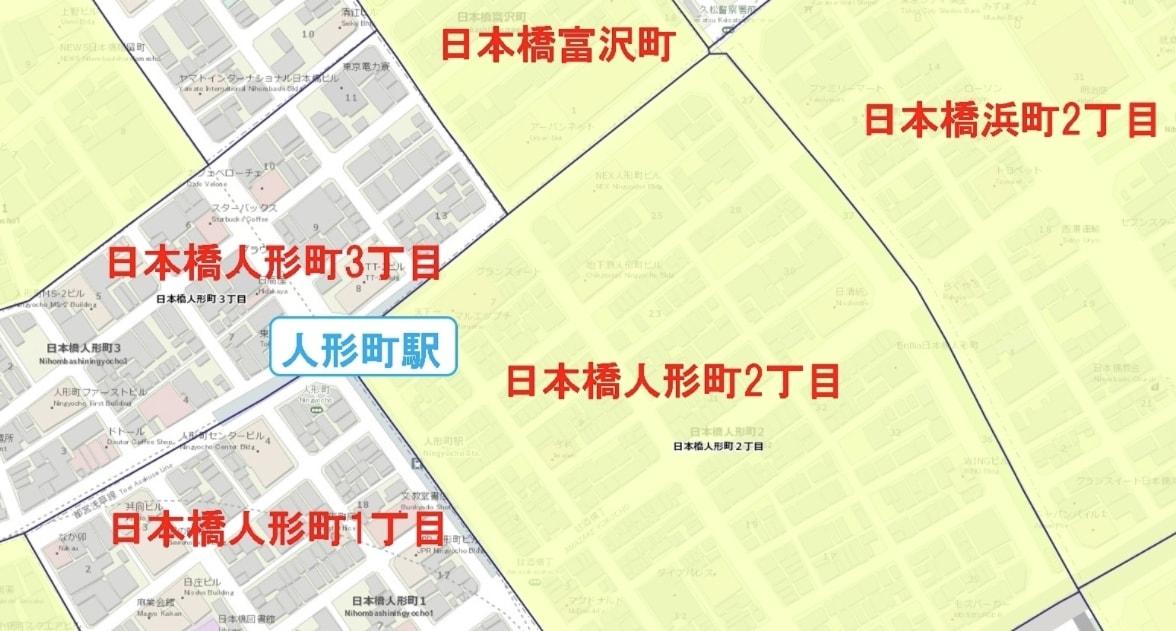 人形町駅周辺の粗暴犯の犯罪件数マップ