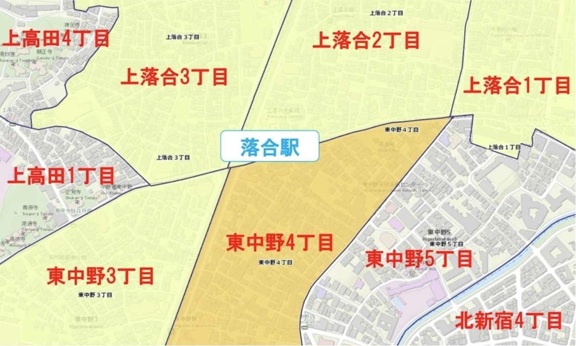 落合駅周辺の粗暴犯の犯罪件数マップ