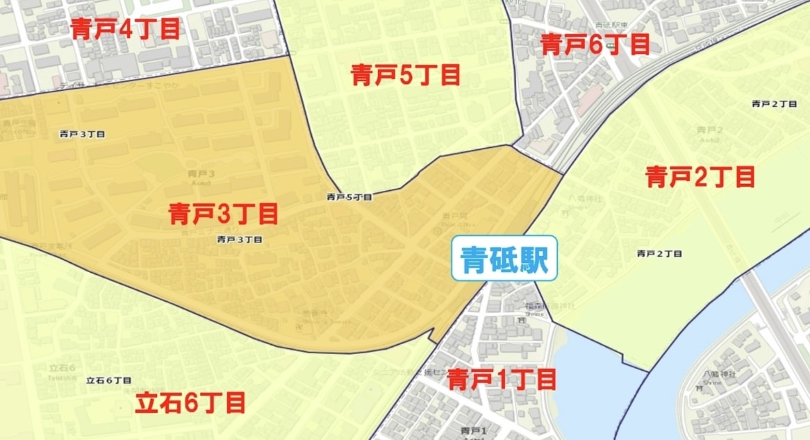 青砥駅周辺の粗暴犯の犯罪件数マップ