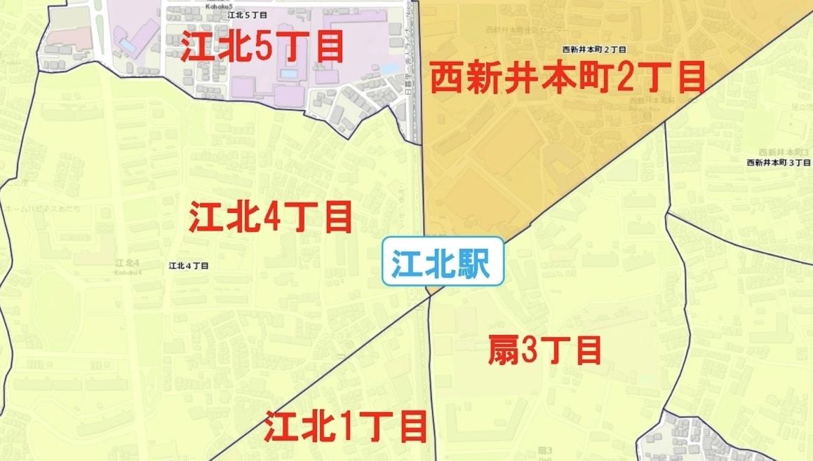 江北駅周辺の粗暴犯の犯罪件数マップ