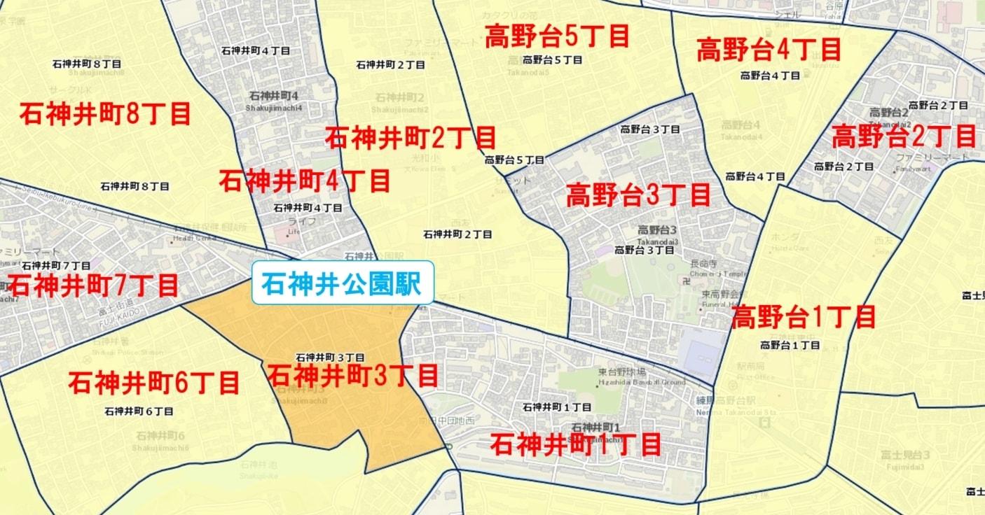 石神井公園駅周辺の粗暴犯の犯罪件数マップ