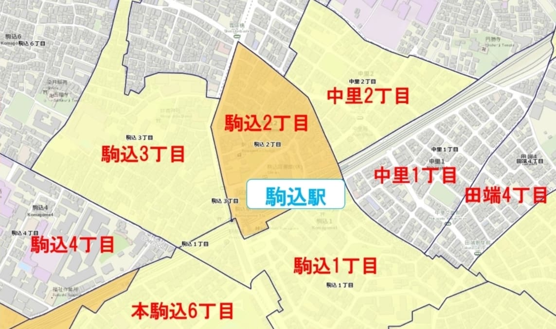 駒込駅周辺の粗暴犯の犯罪件数マップ