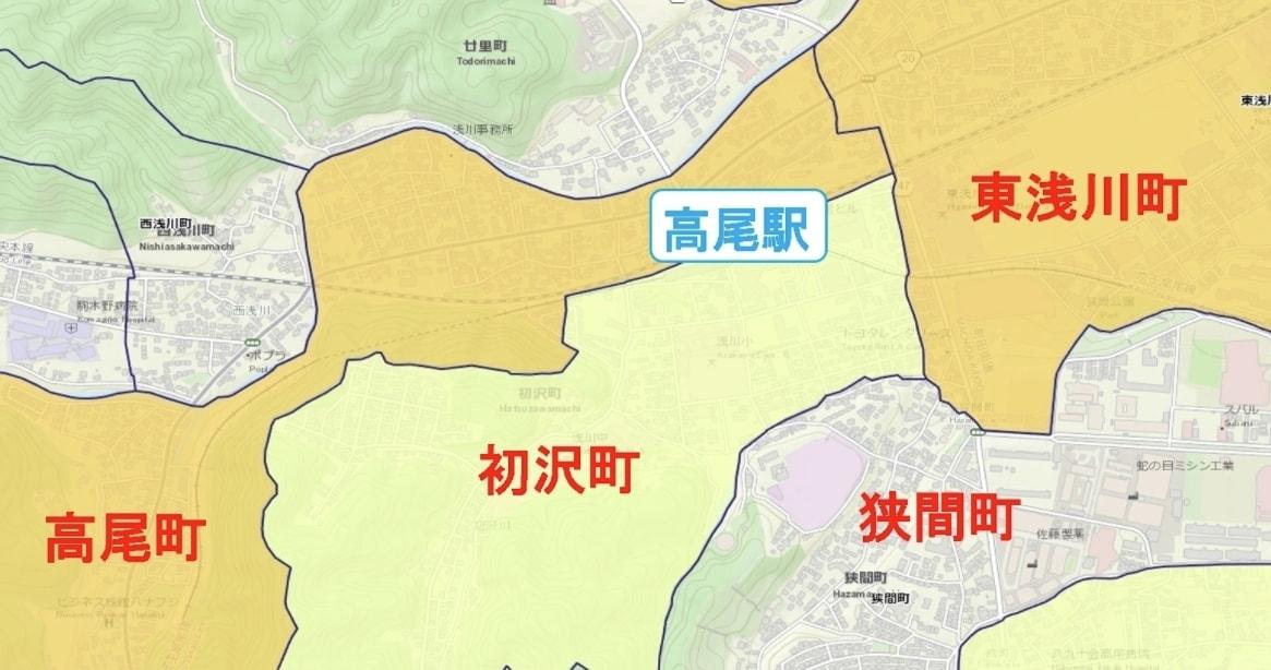 高尾駅周辺の粗暴犯の犯罪件数マップ