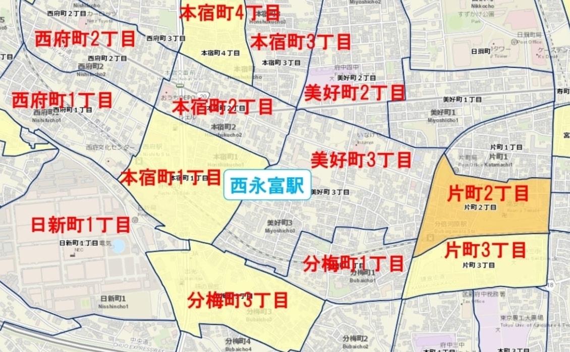 西永福駅周辺の粗暴犯の犯罪件数マップ
