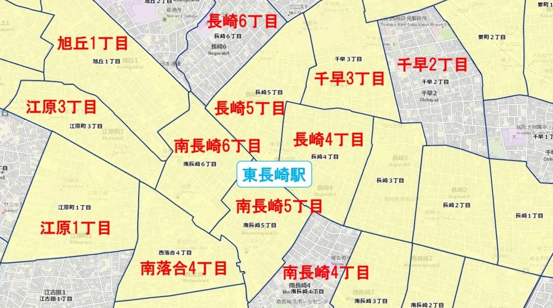 東長崎駅周辺の粗暴犯の犯罪件数マップ